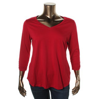 Style & Co. Womens Plus The Essential Tee Knit V-Neck Pullover Top