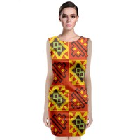 Squares And Other Shapes Pattern Classic Sleeveless Midi Dress