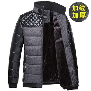 new winter high-end men's fashion casual cotton stitching warm coat thick jacket wool liner 135008