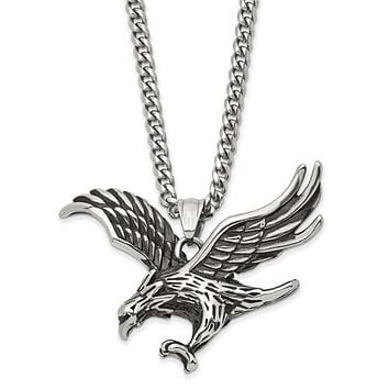 Stainless Steel Antiqued And Polished Eagle 24in Necklace