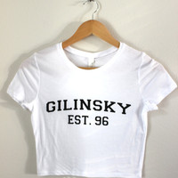 Gilinsky Est. 96 White Graphic Crop Top