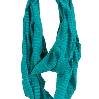 Elastic Striped Infinity Scarf - Aqua Crush Combo