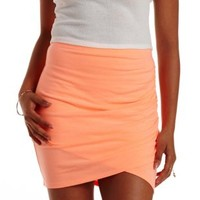 Neon Coral Neon Ruched Bodycon Mini Skirt by Charlotte Russe