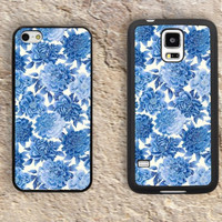 Blue Flowers patterns Floral iPhone Case-iPhone 5/5S Case,iPhone 4/4S Case,iPhone 5c Cases,Iphone 6 case,iPhone 6 plus cases,Samsung Galaxy S3/S4/S5-191