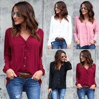 Fashion Women's Long Sleeve Loose Blouse Casual Shirt Summer Tops T-Shirt