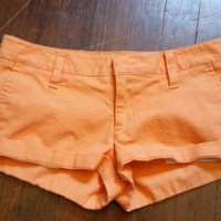 Hurley Womens  Orange Cuffed Lowrider Short Shorts 3 S XS