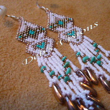 South Western style brick stitch beaded earrings
