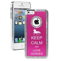 Apple iPhone 5 5S Hot Pink 5S1017 Rhinestone Crystal Bling Aluminum Plated Hard Case Cover Keep Calm and Love Horses