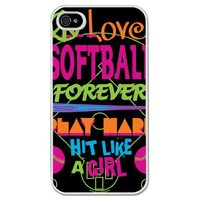 Softball iPhone Case Hit Like a Girl Black Background (iPhone 4/4S)