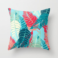 Leave Me Layered (Aqua Red) Throw Pillow by Beth Thompson