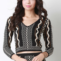 Pattern Knit Sweater Crop Top