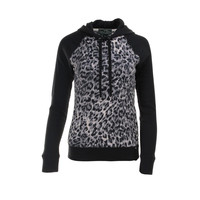 Lauren Active Womens Animal Print Panel Hooded Sweater