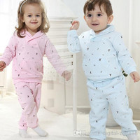 4 Set/lot + New Arrival 2014 Baby Toddler Clothing High Quality Cotton Silk Sweet long-sleeved Leisure Suit Outfits For Spring/Autumn