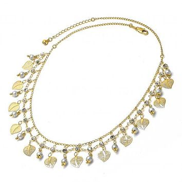 Gold Layered 04.105.0014 Fancy Necklace, Leaf Design, with Gray Pearl and White Cubic Zirconia, Polished Finish, Golden Tone