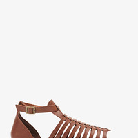 Woven Faux Leather Buckled Sandals