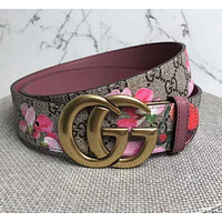 GG Print Floral Belt Flower Belt Women Men Belt A-GFPDPF Red Floral