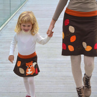 Mum and daughter appliqué skirts set - maternity skirt - fox and autumn leaves - brown jersey