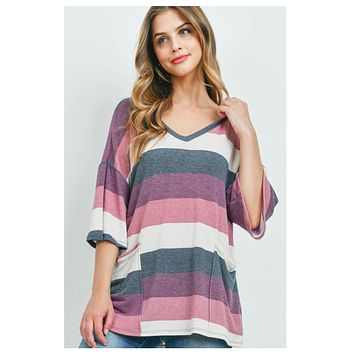 Adorable Mauve Charcoal Striped Hooded Top