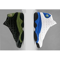 2018 New Air Jordan retro 13 shoe Olive Black Mens basketball shoes Hyper Royal Blue retros 13s Men womens sports Outdoor Sneakers Eur 36-47