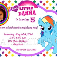 12 MY LITTLE PONY RAINBOW DASH Birthday party invitations PRINTED