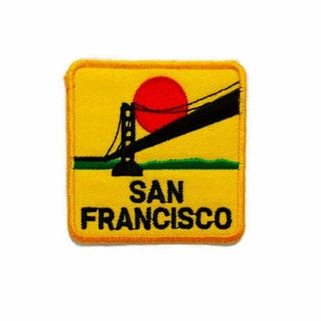 San Francisco Yellow Banner New Sew on / Iron On Patch Embroidered Applique Size 6.5cm.x6.5cm.