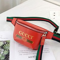 GUCCI street fashion men and women models chest bag canvas multi-function pockets Red