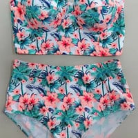 Floral Print Push Up and High Waist Bikini