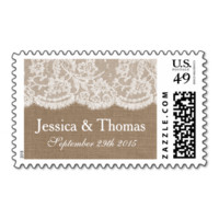 The Burlap & Lace Wedding Collection Postage Stamp