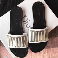DIOR Classic Letter Button Ladies Sandals Slippers Shoes