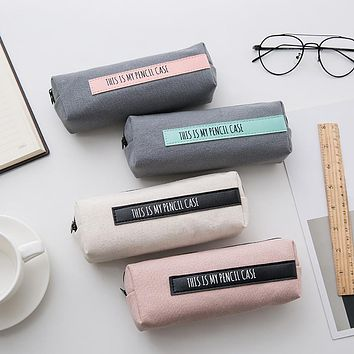 Letters Canvas Pen Pouch Pencil Case School Stationery Storage Bag Student Gift