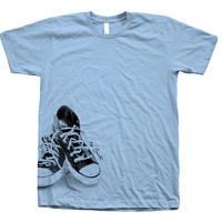 Women Tshirt Sneakers Hand Screen Print American Apparel Crew Neck Available: S, M, L, XL 12 Color Options