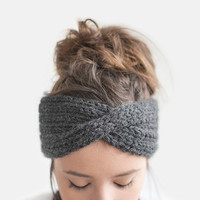 Hand Knit Turban in Dark Grey, Chunky Rib Turban, Warm Womens Turband, Custom Color Turban, Winter Headband, Ribbed Headwrap / Hand Knitted