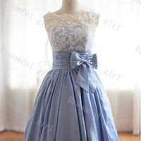Ivory Lace and Blue taffeta with sash bow homecoming dress ,prom dress ,evening dress