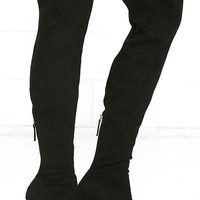 Steve Madden Emotions Black Suede Over the Knee Boots