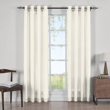 IVORY Abri Grommet Crushed Sheer Curtain Panels (Two Panels )