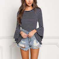 Navy Stripe Bell Sleeve Knit Top