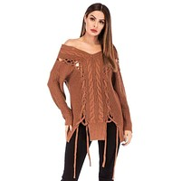 Solid Color Street Style Unique Ripped Design Off-shoulder Long-sleeve Sweater