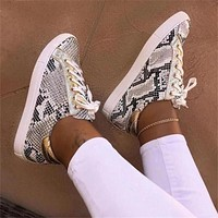 Snake Printing Pu Leather Vulcanized Shoes Lace Up Sneakers Fashion New Platform Shoes Walking Footwear