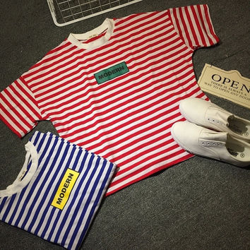 Letter Print Striped Short Sleeves Cropped Shirt