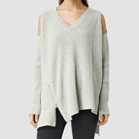 ALLSAINTS US: Womens Able Open Shoulder Sweater (MarbleGrey)