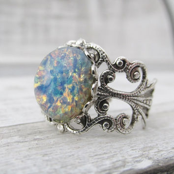 Blue Opal Ring, Adjustable Opal Ring, Vintage Glass Opal Ring, Blue Opal Jewelry, Silver Opal Ring, Opal Jewelry