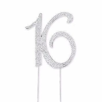 Sweet 16 Silver Crystal Rhinestone Cake Topper 16th Birthday Party Favor