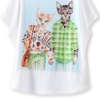 White Wide Sleeve Cat Print Graphic Tee