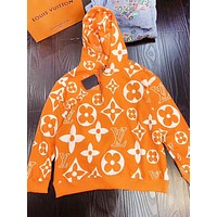 LV Louis Vuitton Fashion New Monogram Print Women Men Hooded Long Sleeve Sweater Top Orange