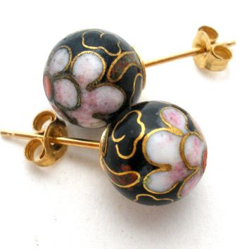 14K Gold Cloisonne Bead Earrings Vintage