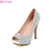 Silver Women Pumps Thin High Heel Peep Toe Slip On
