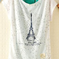 2 Pieces Tank Top Set with Eiffel Tower Print HQD943 from topsales