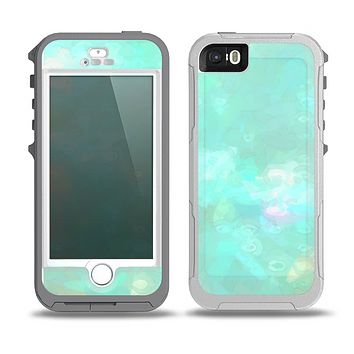 The Bright Teal WaterColor Panel Skin for the iPhone 5-5s OtterBox Preserver WaterProof Case