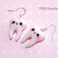 Kawaii tooth earrings