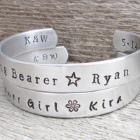 Ring Bearer Flower Girl SET Toddler Child Name Bracelet WEDDING PARTY Stamped Jewelry Custom Cuff Personalized Customize Boy Girl